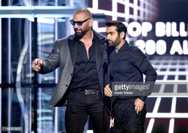 Dave Bautista and Kumail Nanjiani speak onstage during the 2019 Billboard Music Awards at MGM Grand Garden Arena on May 01 2019 in Las Vegas Nevada