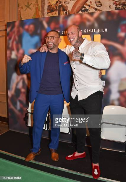 Dave Bautista and Martyn Ford attend the World Premiere of Final Score at The Ham Yard Hotel on August 30 2018 in London England