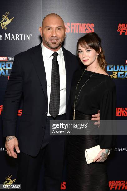 Dave Bautista and Sarah Jade attend a screening of Marvel Studios' 'Guardians of the Galaxy Vol 2' hosted by The Cinema Society at the Whitby Hotel...