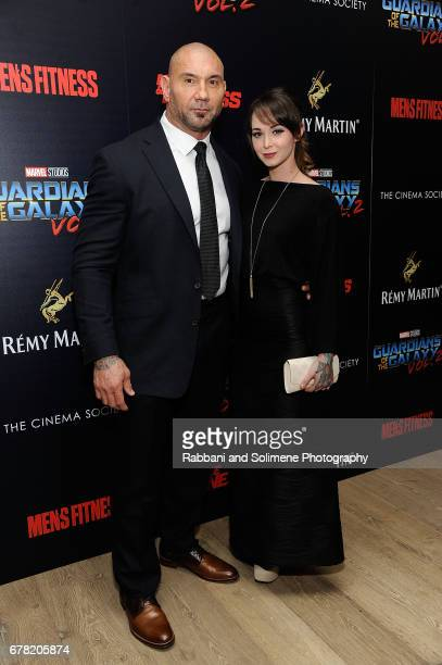 Dave Bautista and Sarah Jade attends a screening of Marvel Studios' Guardians Of The Galaxy Vol 2 hosted by The Cinema Society at the Whitby Hotel on...
