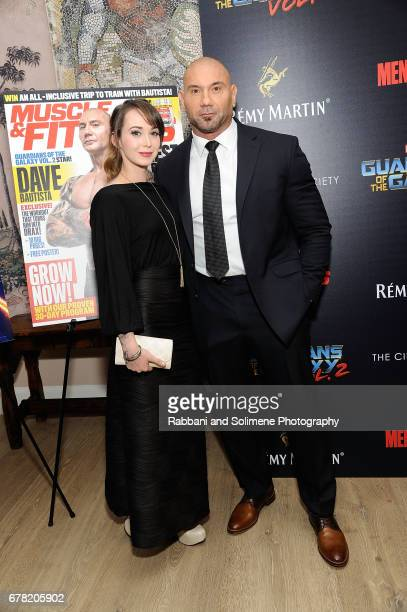 Dave Bautista and Sarah Jade attends a screening of Marvel Studios' 'Guardians Of The Galaxy Vol 2' hosted by The Cinema Society at the Whitby Hotel...