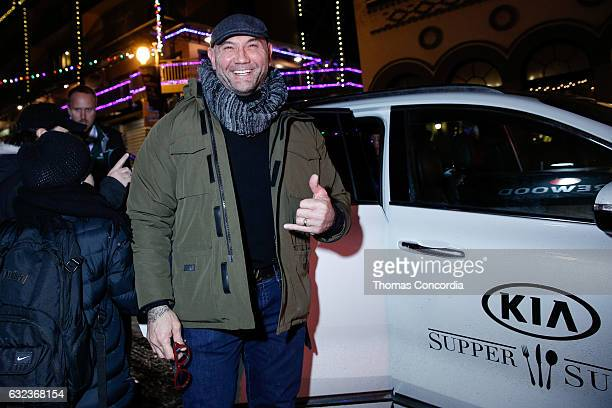 Dave Bautista arrives for the Kia Supper Suite hosts XYZ Films Sundance Party on January 21 2017 in Park City Utah