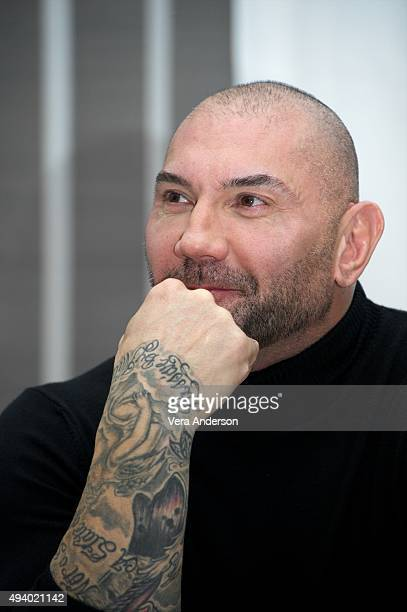 Dave Bautista at the 'Spectre' Press Conference at the Corinthia Hotel London on October 23 2015 in London England