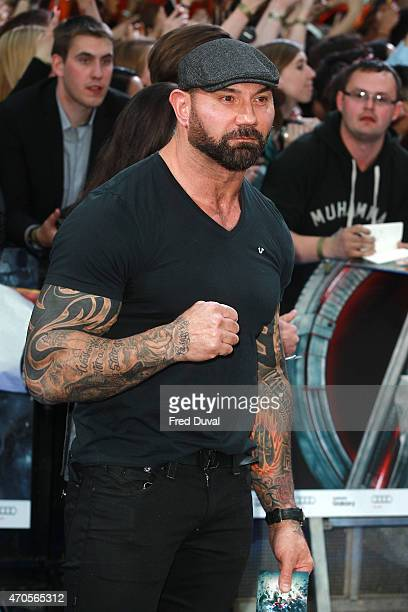 Dave Bautista attends 'The Avengers Age Of Ultron' European premiere at Westfield London on April 21 2015 in London England