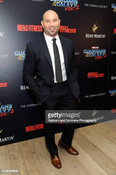 Dave Bautista attends The Cinema Society Hosts A Screening Of Marvel Studios' Guardians Of The Galaxy Vol 2 Arrivals at the Whitby Hotel on May 3...