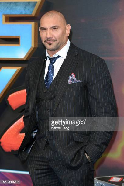 Dave Bautista attends the European Gala screening of 'Guardians of the Galaxy Vol 2' at Eventim Apollo on April 24 2017 in London United Kingdom