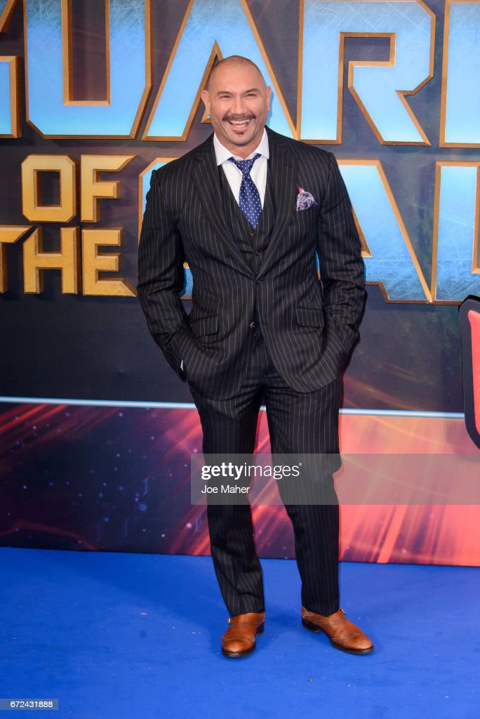 Dave Bautista attends the European Gala Screening of 'Guardians of the Galaxy Vol. 2' at Eventim Apollo on April 24, 2017 in London, United Kingdom.
