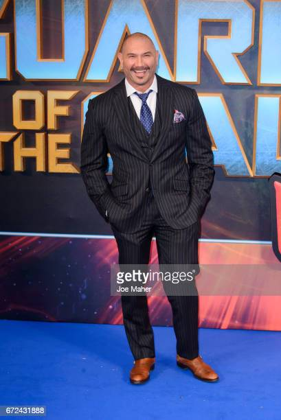 Dave Bautista attends the European Gala Screening of Guardians of the Galaxy Vol 2 at Eventim Apollo on April 24 2017 in London United Kingdom