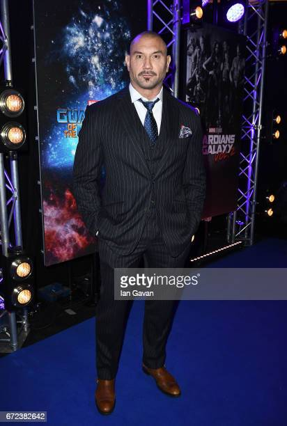 Dave Bautista attends the European launch event of Marvel Studios' 'Guardians of the Galaxy Vol 2' at the Eventim Apollo on April 24 2017 in London...