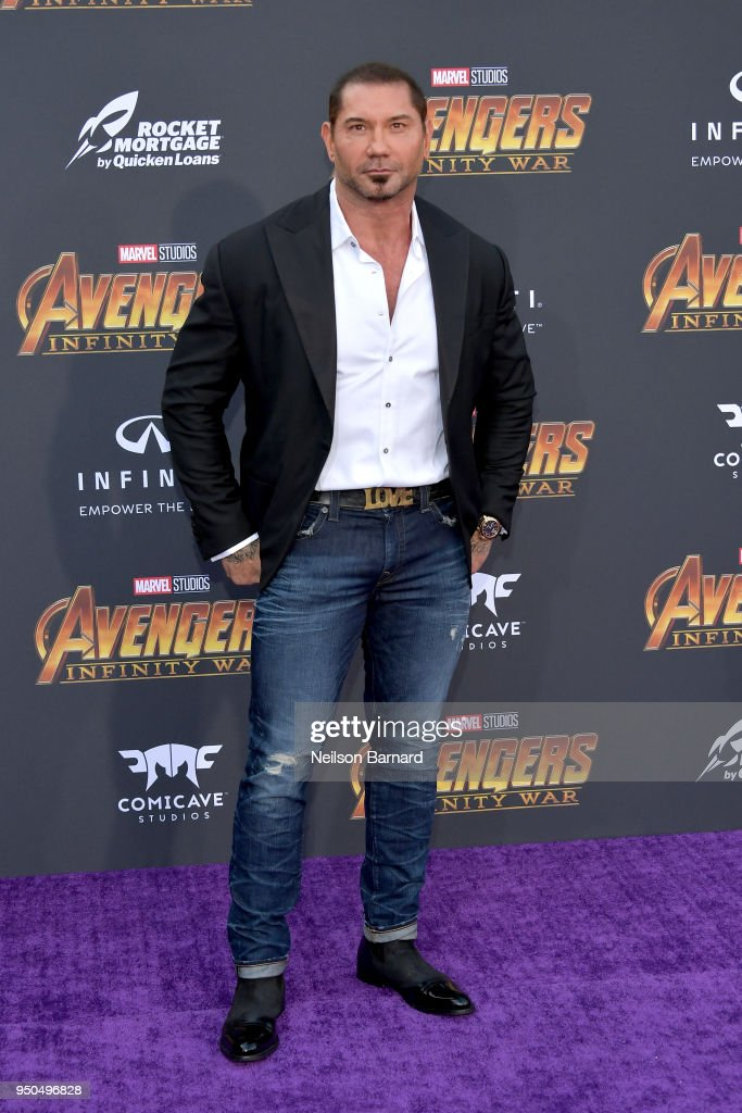Dave Bautista attends the premiere of Disney and Marvel's 'Avengers: Infinity War' on April 23, 2018 in Los Angeles, California.