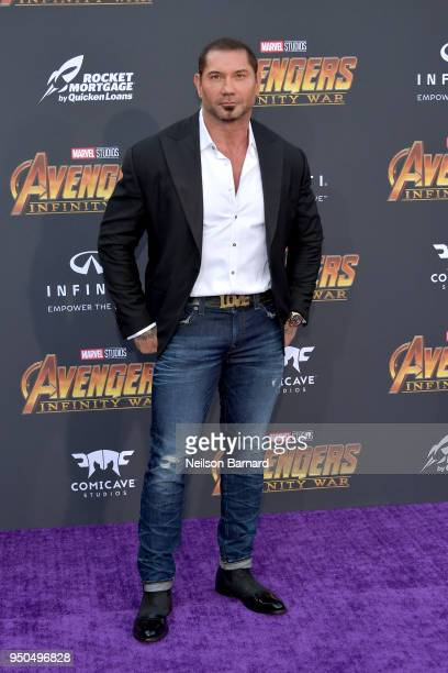 Dave Bautista attends the premiere of Disney and Marvel's 'Avengers Infinity War' on April 23 2018 in Los Angeles California