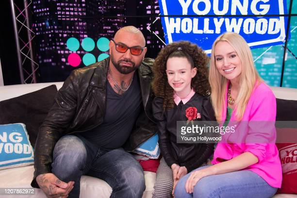 Dave Bautista Chloe Coleman and host Mary Kate Gaffney at the Young Hollywood Studio on February 21 2020 in Los Angeles California