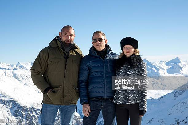 Dave Bautista Daniel Craig and Lea Seydoux pose at the photo call for the 24th Bond film 'Spectre' on January 7 2015 in Soelden Austria