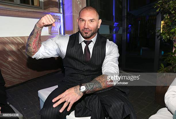 Dave Bautista during the presentation of the Jaguar Land Rover vehicles starring in the new Bond film 'Spectre' on September 15 2015 in Frankfurt am...