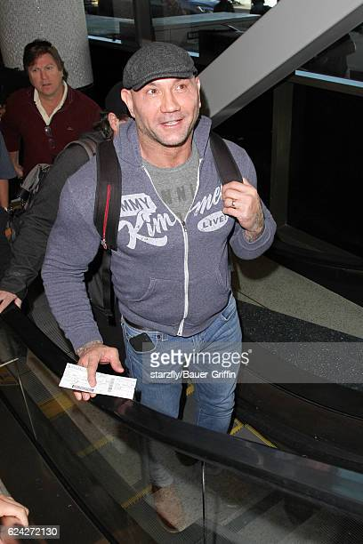 Dave Bautista is seen at LAX on November 18 2016 in Los Angeles California