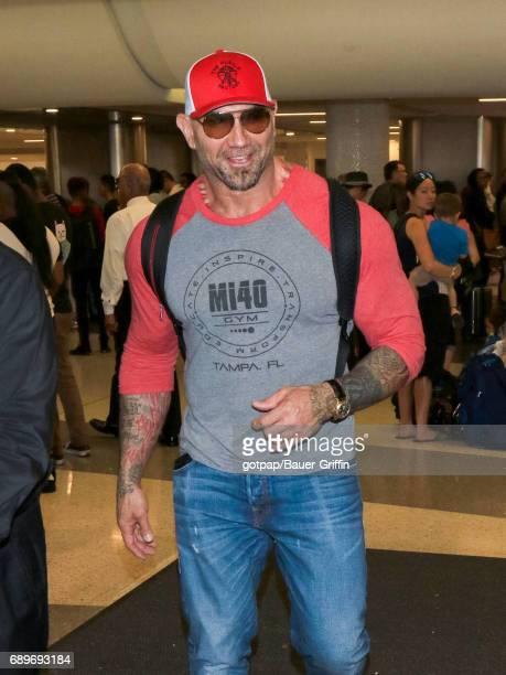 Dave Bautista is seen at Los Angeles International Airport on May 28 2017 in Los Angeles California