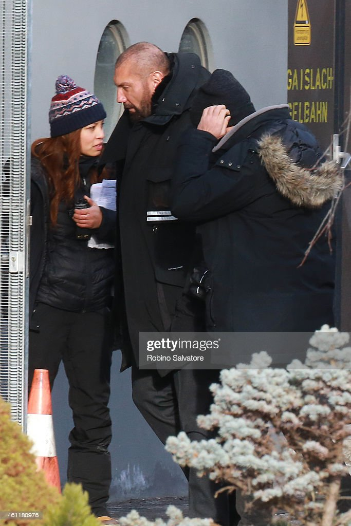 Dave Bautista is seen on location for the filming of James Bond on January 8, 2015 in Bad Aussee, Austria.