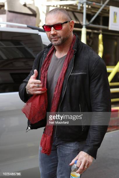 Dave Bautista leaving Bauer Media Radio Studios for an interview with Absolute Radio promoting new movie Final Score on August 31 2018 in London...