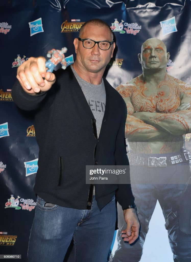 Dave Bautista makes a surprise appearance to help celebrate Hasbro's donation of $1 million USD worth of cash and product to the organization on March 1, 2018 in Kissimmee, Florida.
