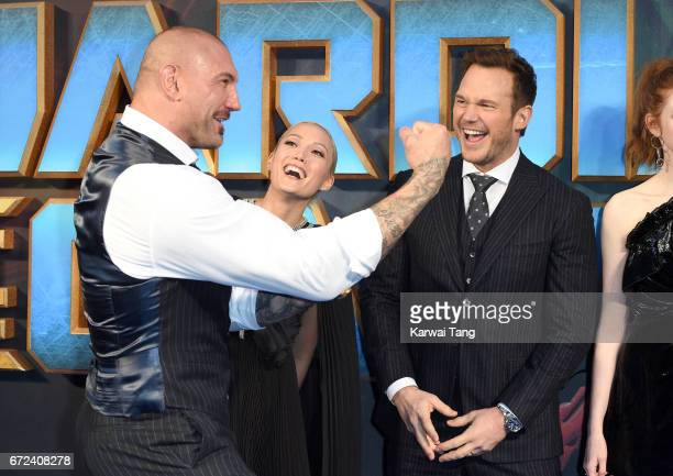 Dave Bautista Pom Klementieff and Chris Pratt attend the European Gala screening of 'Guardians of the Galaxy Vol 2' at Eventim Apollo on April 24...