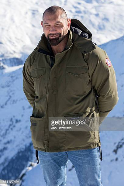 Dave Bautista poses at the photo call for the 24th Bond film 'Spectre' at ski resort on January 7 2015 in Soelden Austria