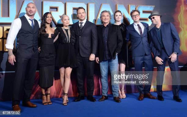 Dave Bautista Zoe Saldana Karen Gillan Chris Pratt Kurt Russell Pom Klentieff James Gunn and Michael Rooker attend the European Gala Screening of...