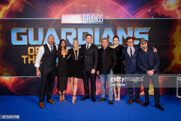 Dave Bautista Zoe Saldana Kurt Russell Pom Klementieff Chris Pratt Karen Gillan James Gunn and Michael Rooker attend the European Gala Screening of...