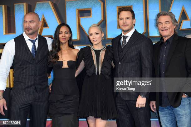 Dave Bautista Zoe Saldana Pom Klementieff Chris Pratt and Kurt Russell attend the European Gala screening of Guardians of the Galaxy Vol 2 at Eventim...