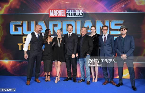 Dave Bautista Zoe Saldana Pom Klementieff Chris Pratt Kurt Russell Karen Gillan James Gunn and Michael Rooker attend the European Gala screening of...