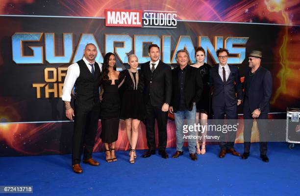 Dave Bautista Zoe Saldana Pom Klementieff Chris Pratt Kurt Russell Karen Gillan James Gunn and Michael Rooker attend the UK screening of Guardians of...