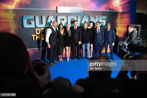 Dave Bautista Zoe Saldana Pom Klementieff Chris Pratt Kurt Russell Karen Gillan James Gunn and Michael Rooker attend the European Gala Screening of...
