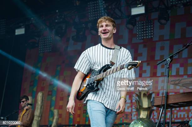 Dave Bayley from Glass Animals performs during first Lollapalooza in France at Hippodrome de Longchamp on July 22 2017 in Paris France