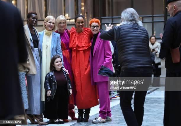 Dave Benett photographs Sheila Atim Cate Blanchett Sinead Burke Joely Richardson Zawe Ashton and Sandy Powell attending the Roksanda Show during...