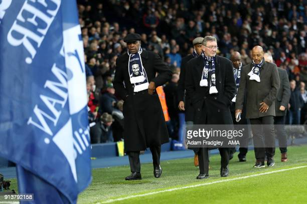 Dave Bennett Alistair Brown and Brendan Batson for Cyrille Regis tribute during the Premier League match between West Bromwich Albion and Southampton...