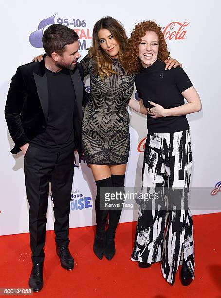 Dave Berry Lisa Snowdon and Jess Glynne attend day one of the Capital FM Jingle Bell Ball at The O2 Arena on December 5 2015 in London England