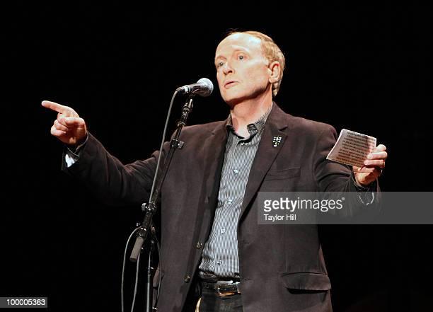 Dave Berry of Gibson Guitars speaks during the Music Saves Mountains benefit concert at the Ryman Auditorium on May 19 2010 in Nashville Tennessee