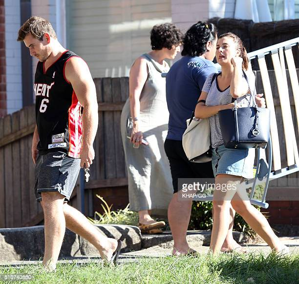 Dave Billsborrow is seen with Sarah Mae Louise for the first time since his cancer surgery on February 12 2016 in Sydney Australia