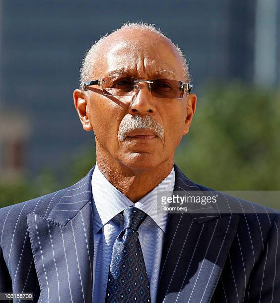 Dave Bing, mayor of Detroit, listens to General Motors Co. Chairman and Chief Executive Officer Ed Whitacre speak in front of the Renaissance Center,...