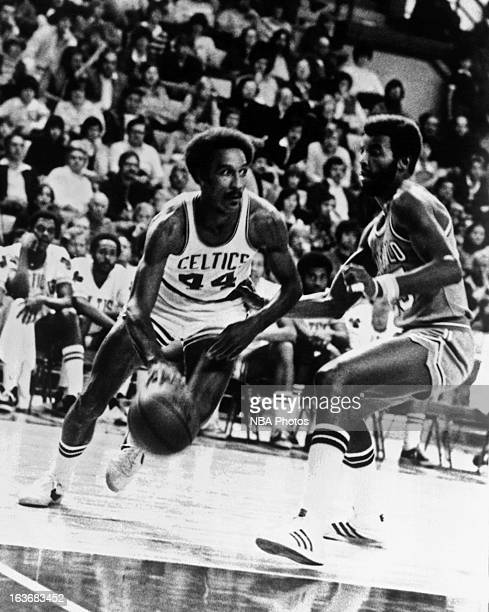 Dave Bing of the Boston Celtics dribbles against the Buffalo Braves circa 1978 at the Boston Garden in Boston Massachussets NOTE TO USER User...