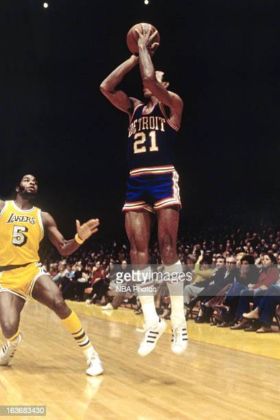Dave Bing of the Detroit Pistons shoots against the Los Angeles Lakers during a game played circa 1970 at Cobo Arena in Detroit Michigan NOTE TO USER...