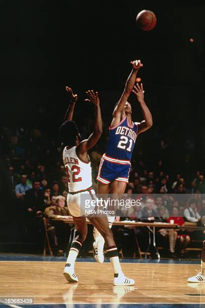 Dave Bing of the Detroit Pistons shoots against the Milwaukee Bucks during a game played circa 1970 at Cobo Arena in Detroit Michigan NOTE TO USER...