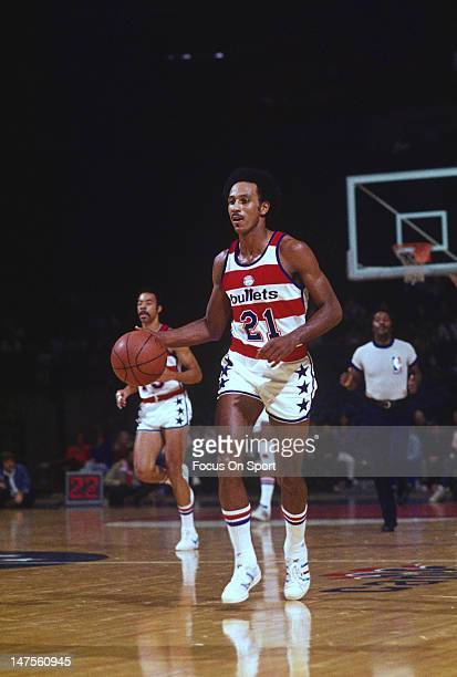 Dave Bing of the Washington Bullets dribbles the ball up court during an NBA basketball game circa 1976 at the Capital Centre in Landover Maryland...