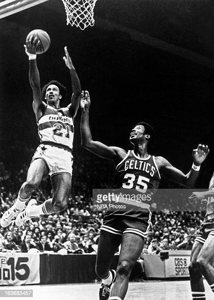 Dave Bing of the Washington Bullets shoots against the Boston Celtics circa 1976 at the Capitol Centre in Landover Maryland NOTE TO USER User...