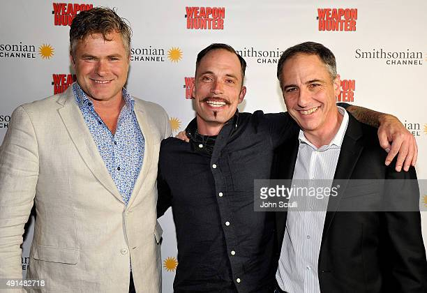 Dave Brady Paul Shull producer/actor and Tim Evans producer attend the premiere screening for New Smithsonian Channel series The Weapon Hunter at...