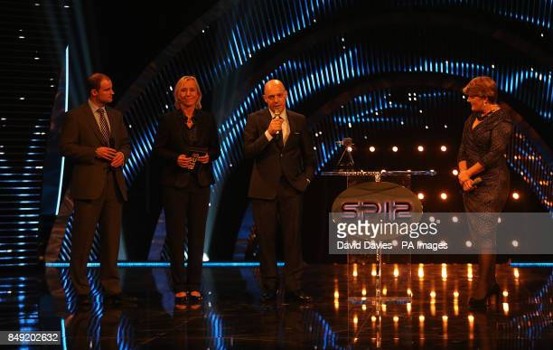 Dave Brailsford accepts his coach of the year award during the Sports Personality of the Year Awards 2012 at the ExCel Arena London