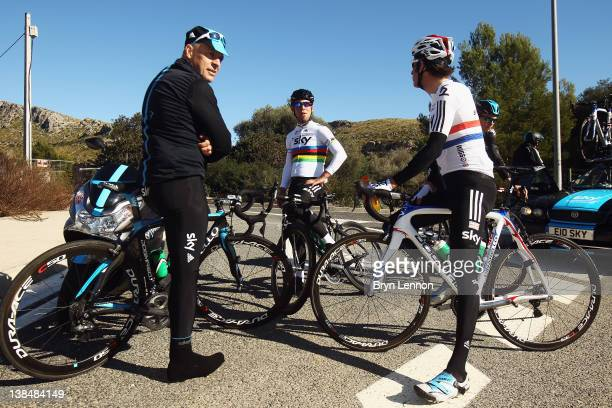 Dave Brailsford, Mark Cavendish and Bradley Wiggins prepare to ride during a pre-season Team SKY training camp in Puerto Alcudia on January 23, 2012...