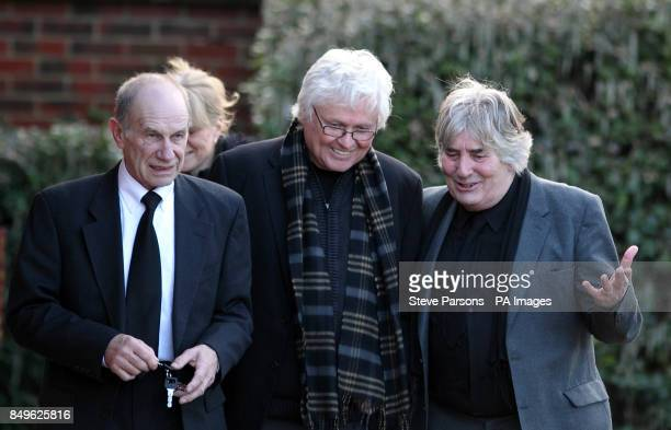 Dave Britton and Chip Taylor at the funeral of Troggs frontman Reg Presley held at Basingstoke Crematorium Hampshire Presley was the singer with the...