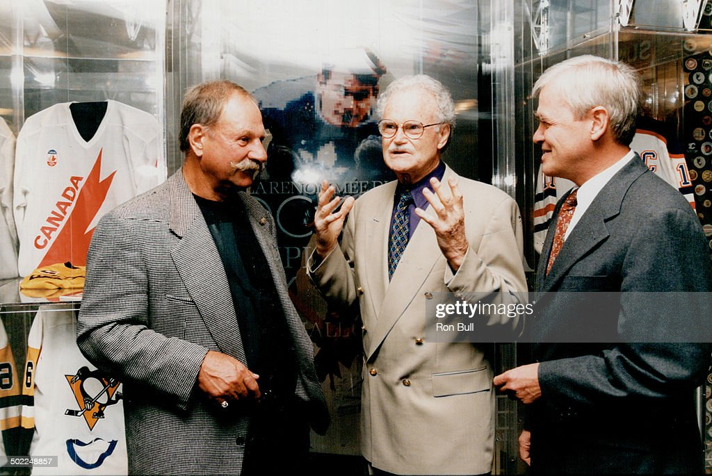 Dave Broadfoot (centre), Eddie Shack, Dr. Robert Phillips.