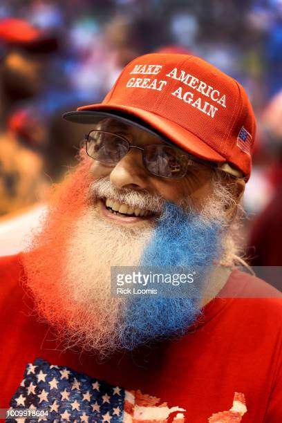 Dave Brody of Ashfield Pa sports a red white and blue beard while waiting for President Donald J Trump to speak on August 2 2018 at the Mohegan Sun...
