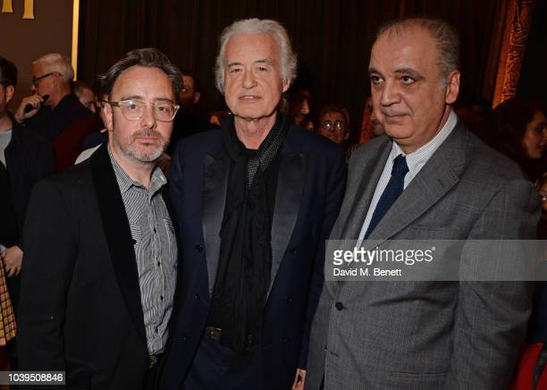 Dave Brolan Jimmy Page and Tony Nourmand attend the launch of Led Zeppelin by Led Zeppelin the official illustrated book marking the 50th anniversary...